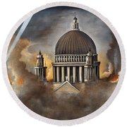 Round Beach Towel featuring the painting Defiance by Ken Wood