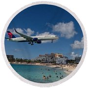 Delta Air Lines Landing At St Maarten Round Beach Towel by David Gleeson