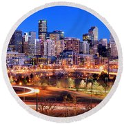 Round Beach Towel featuring the photograph Denver Skyline At Dusk Evening Color Evening Panorama Broncos Colorado  by Jon Holiday