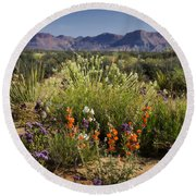 Desert Wildflowers Round Beach Towel by Saija  Lehtonen