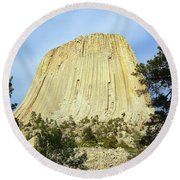 Round Beach Towel featuring the photograph Devils Tower National Monument Wyoming Usa by Shawn O'Brien