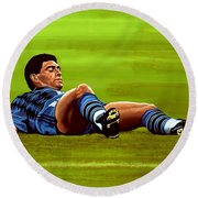 Diego Maradona 2 Round Beach Towel by Paul Meijering