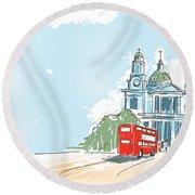 Digital Illustration St Paul Cathedral London Uk Round Beach Towel