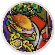 Food And Beverage Round Beach Towel by Leon Zernitsky