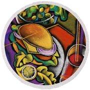 Food And Beverage Round Beach Towel by Leon Zernitsky