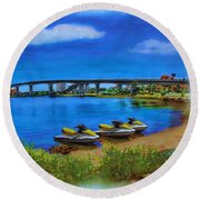 Round Beach Towel featuring the painting Do You Sea Doo by Deborah Boyd