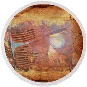 Round Beach Towel featuring the photograph Dodge In Rust by Larry Bishop