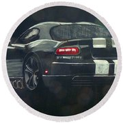 Round Beach Towel featuring the painting Dodge Viper 2 by Richard Le Page
