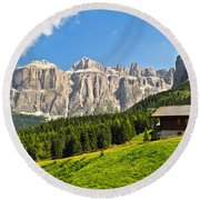 Dolomiti - High Fassa Valley Round Beach Towel