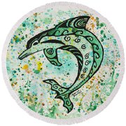 Dolphin 2 Round Beach Towel