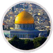 Dome Of The Rock Round Beach Towel