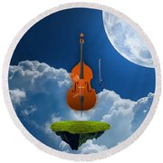 Double Bass Round Beach Towel