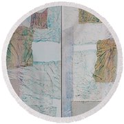 Round Beach Towel featuring the sculpture Double Doors Of Unfinished Projects In Blue  by Asha Carolyn Young