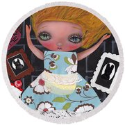Down The Rabbit Hole Round Beach Towel by Abril Andrade Griffith