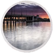 Drawbridge At Sunset Round Beach Towel