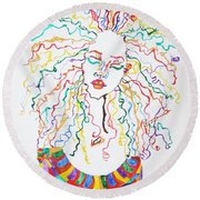 Round Beach Towel featuring the painting Dreadlocks Piano Goddess by Stormm Bradshaw