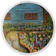Dream Garden Round Beach Towel by Laurie Morgan