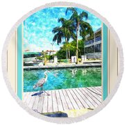 Dry Dock Bird Walk - Digitally Framed Round Beach Towel by Susan Molnar