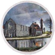 Round Beach Towel featuring the painting Dudley Priory C1700s by Ken Wood