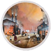 Round Beach Towel featuring the painting Dudleys By Gone Days by Ken Wood