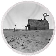 Dust Bowl, 1938 Round Beach Towel