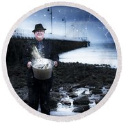 Elderly Fisherman Holding A Bucket Of Fish Round Beach Towel
