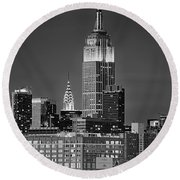 Empire And Chrysler Buildings Round Beach Towel