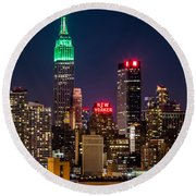 Empire State Building On Saint Patrick's Day Round Beach Towel