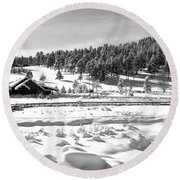 Round Beach Towel featuring the photograph Evergreen Lake House Winter by Ron White