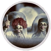 Evil Zombie Clown Doctors Rising From The Dead Round Beach Towel