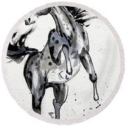 Round Beach Towel featuring the painting Exuberance by Bill Searle