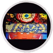 Round Beach Towel featuring the photograph Eye On Fabrics by Michael Hoard