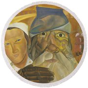 Faces Of Russia Round Beach Towel