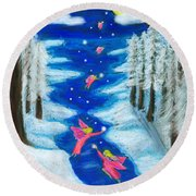 Faery Merry Christmas Round Beach Towel