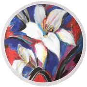Fair Pure Fragile White Lilies Round Beach Towel by Esther Newman-Cohen