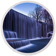 Falling Water Round Beach Towel by Mihai Andritoiu