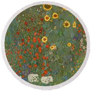 Farm Garden With Sunflowers Round Beach Towel