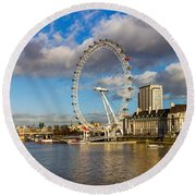 Ferris Wheel At The Waterfront Round Beach Towel by Panoramic Images