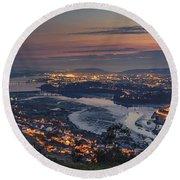 Ferrol's Ria Panorama From Mount Ancos Galicia Spain Round Beach Towel