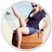 Fine Art Fifties Poster Girl On Travel Luggage Round Beach Towel