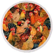 Fine Fowl Round Beach Towel by Ditz