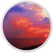 Fire In The Sky Round Beach Towel by Holly Martinson
