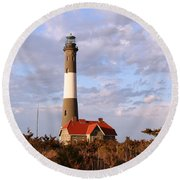 Round Beach Towel featuring the photograph Fire Island Lighthouse by Karen Silvestri