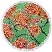Round Beach Towel featuring the painting Fireworks by Alys Caviness-Gober