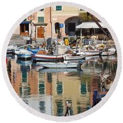 fishing boats in Camogli  Round Beach Towel