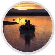 Fishing Boats Round Beach Towel