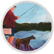 Round Beach Towel featuring the painting Fishing by Donald J Ryker III