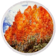 Round Beach Towel featuring the painting Flaming Aspens 2 by Barbara Jewell