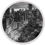 Flatiron District Birds Eye View Round Beach Towel