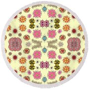 Floral Burst Round Beach Towel